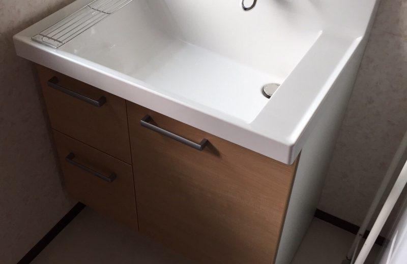 狭山市 洗面脱衣室リフォーム 洗面化粧台・床張り替え